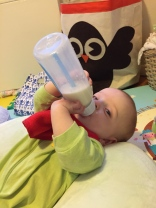 And the winner is...Jack! First to hold his bottle.